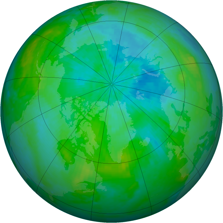 Arctic ozone map for 25 August 2002
