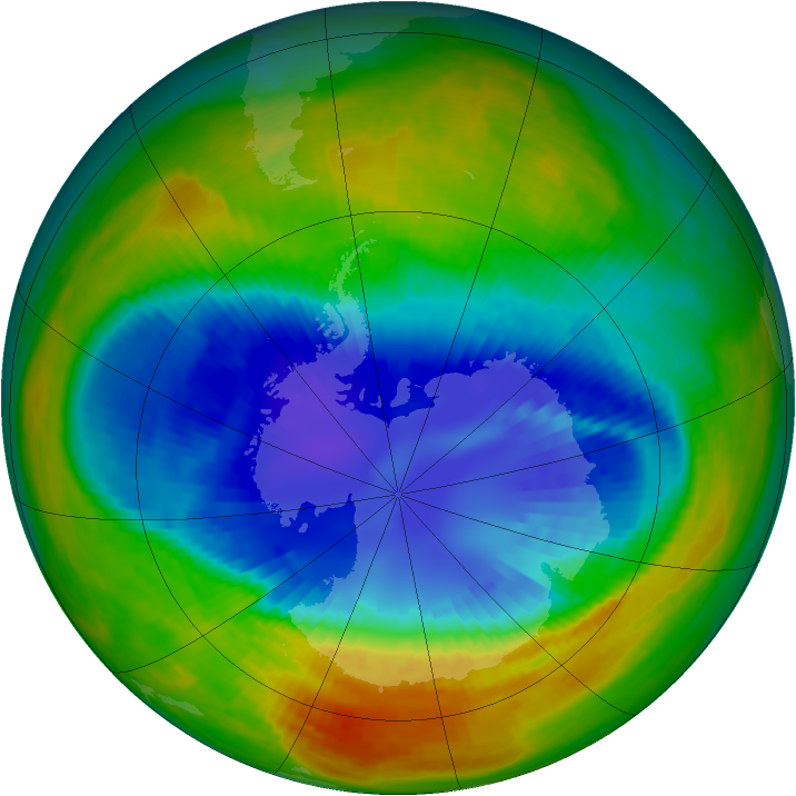 Antarctic ozone map for 04 September 2002