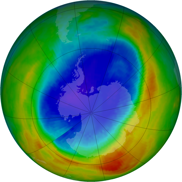 Antarctic ozone map for 12 September 2002