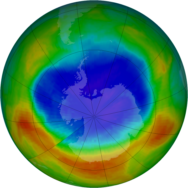 Antarctic ozone map for 14 September 2002