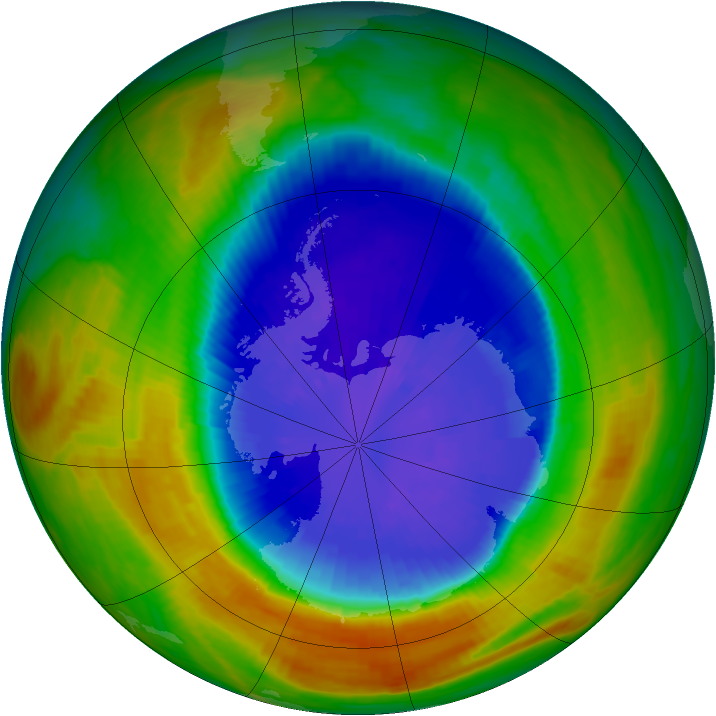 Antarctic ozone map for 17 September 2002