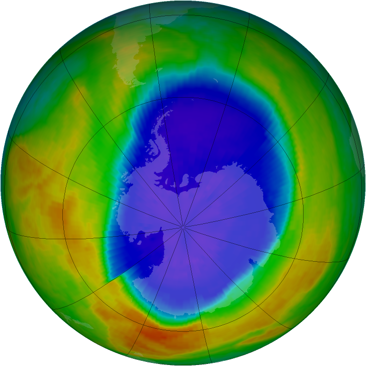 Antarctic ozone map for 18 September 2002