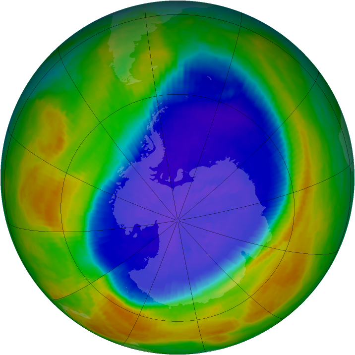 Antarctic ozone map for 19 September 2002