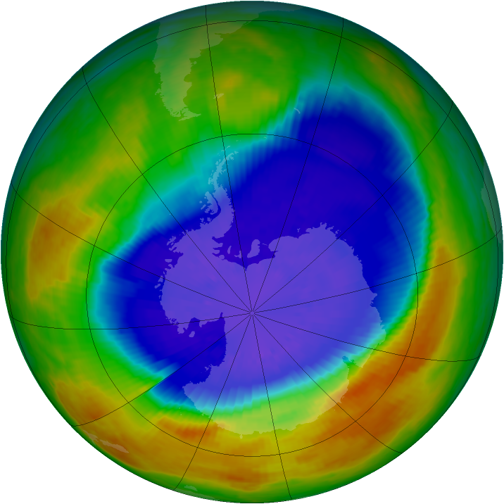 Antarctic ozone map for 20 September 2002