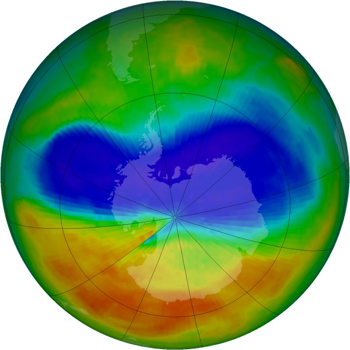 Antarctic ozone map for 22 September 2002