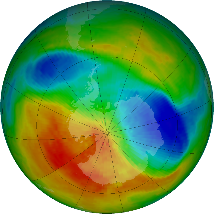 Antarctic ozone map for 27 September 2002