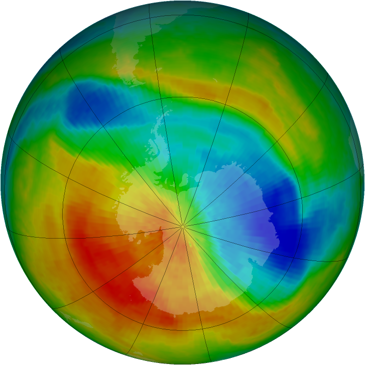Antarctic ozone map for 28 September 2002