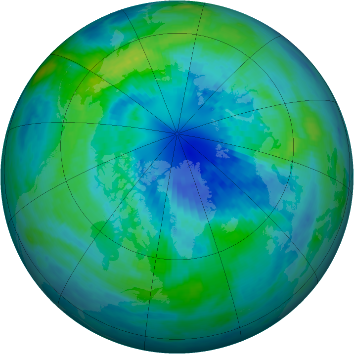 Arctic ozone map for 03 October 2002