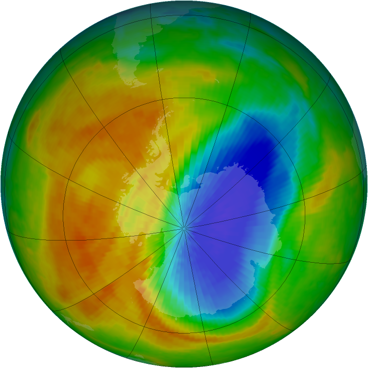 Antarctic ozone map for 03 October 2002