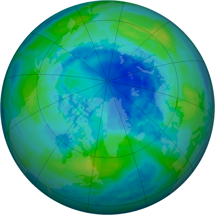 Arctic ozone map for 09 October 2002
