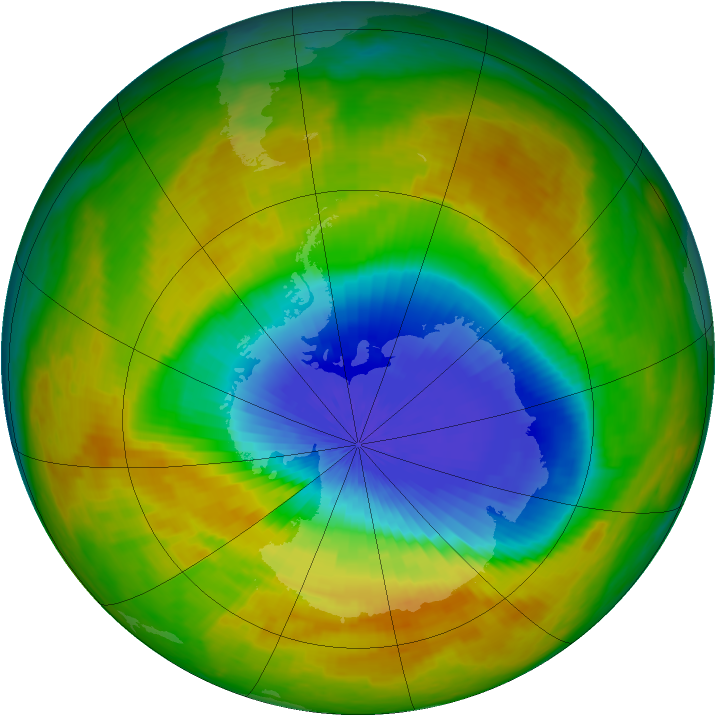 Antarctic ozone map for 09 October 2002