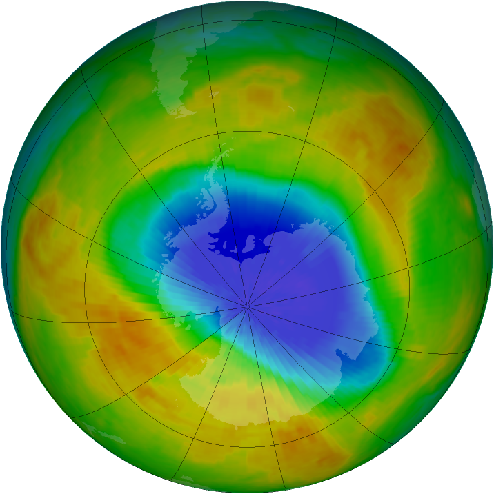 Antarctic ozone map for 10 October 2002