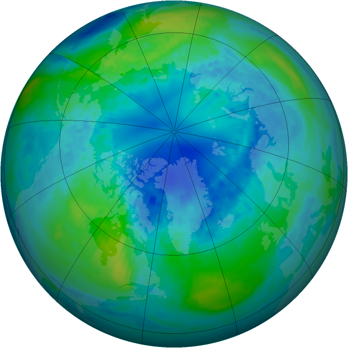 Arctic ozone map for 14 October 2002