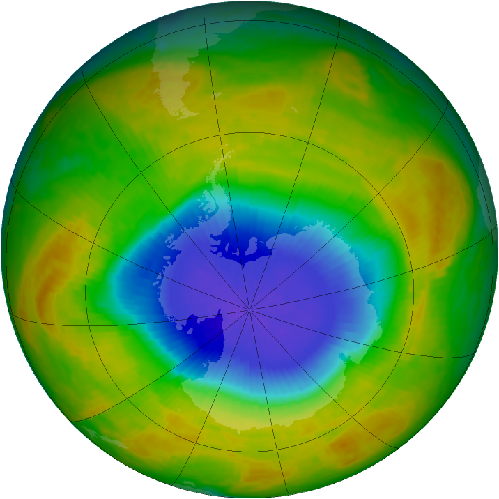 Antarctic ozone map for 18 October 2002