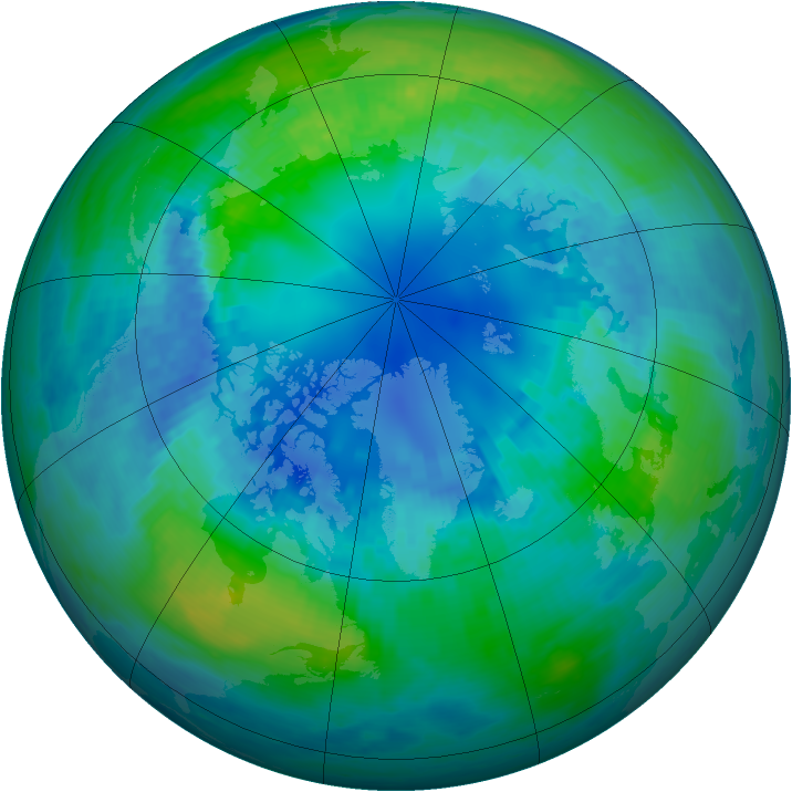 Arctic ozone map for 19 October 2002