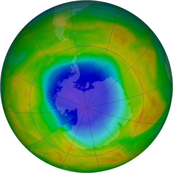 Antarctic ozone map for 20 October 2002