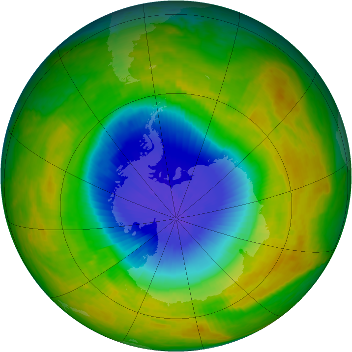 Antarctic ozone map for 21 October 2002