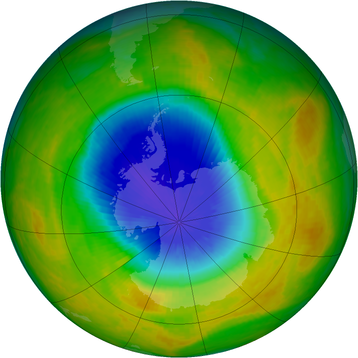 Antarctic ozone map for 22 October 2002
