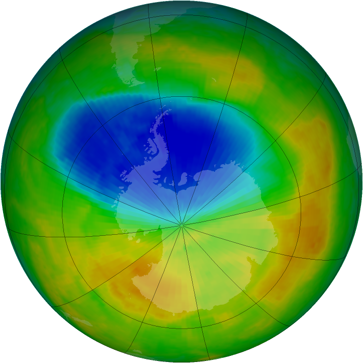 Antarctic ozone map for 28 October 2002