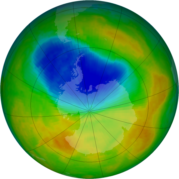 Antarctic ozone map for 29 October 2002