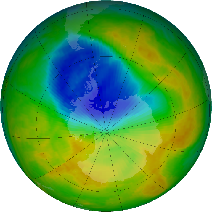 Antarctic ozone map for 30 October 2002
