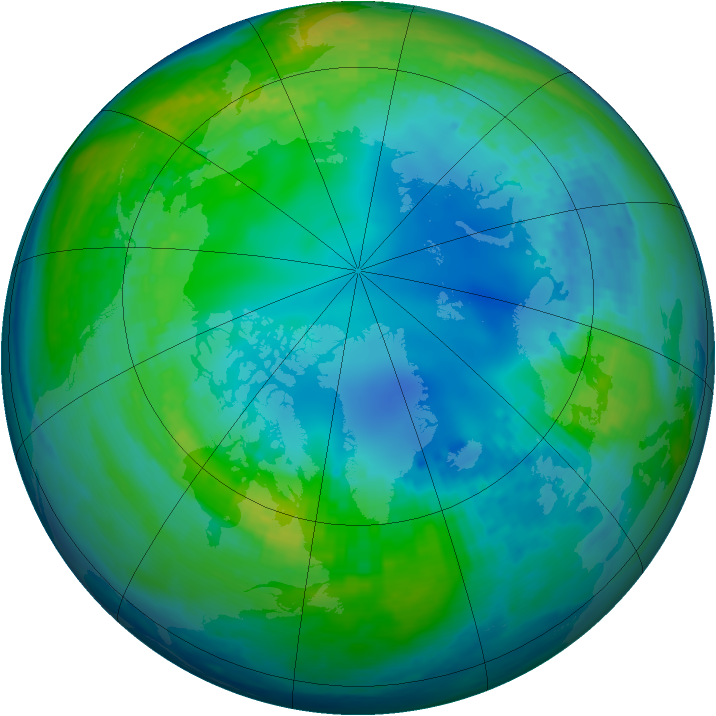 Arctic ozone map for 09 November 2002