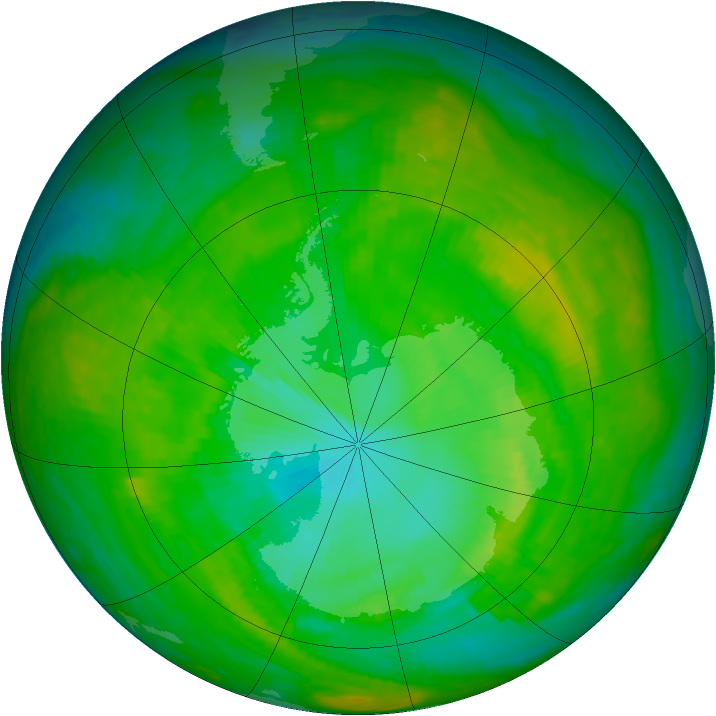 Antarctic ozone map for 02 December 2002