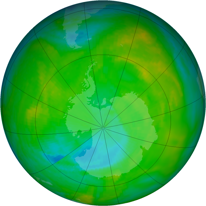 Antarctic ozone map for 04 December 2002