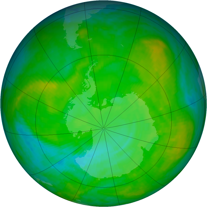 Antarctic ozone map for 06 December 2002
