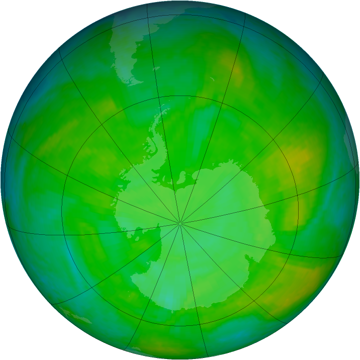 Antarctic ozone map for 08 December 2002