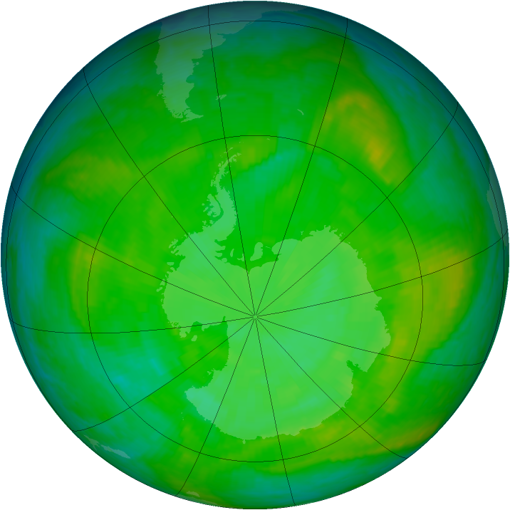 Antarctic ozone map for 09 December 2002