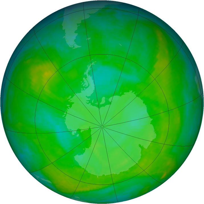 Antarctic ozone map for 12 December 2002