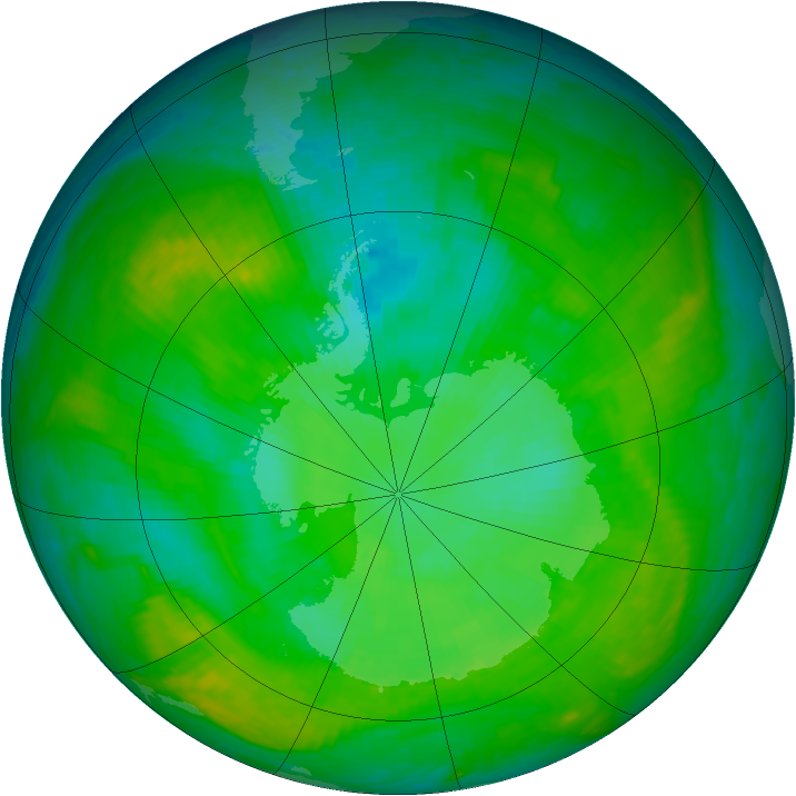 Antarctic ozone map for 13 December 2002