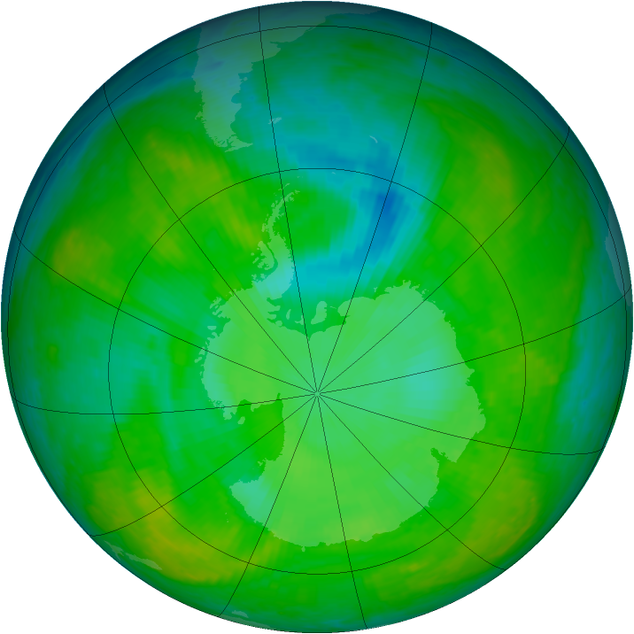 Antarctic ozone map for 14 December 2002