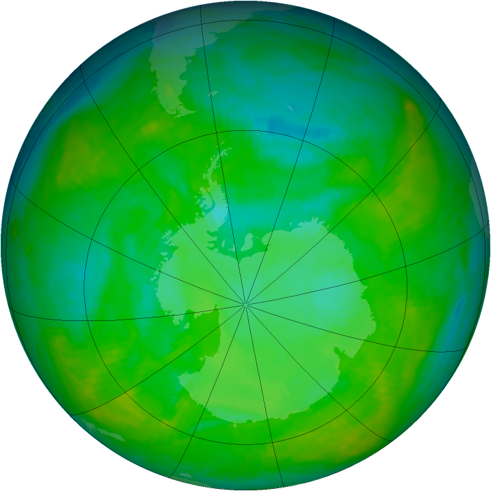 Antarctic ozone map for 15 December 2002