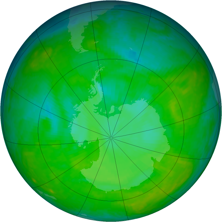 Antarctic ozone map for 16 December 2002