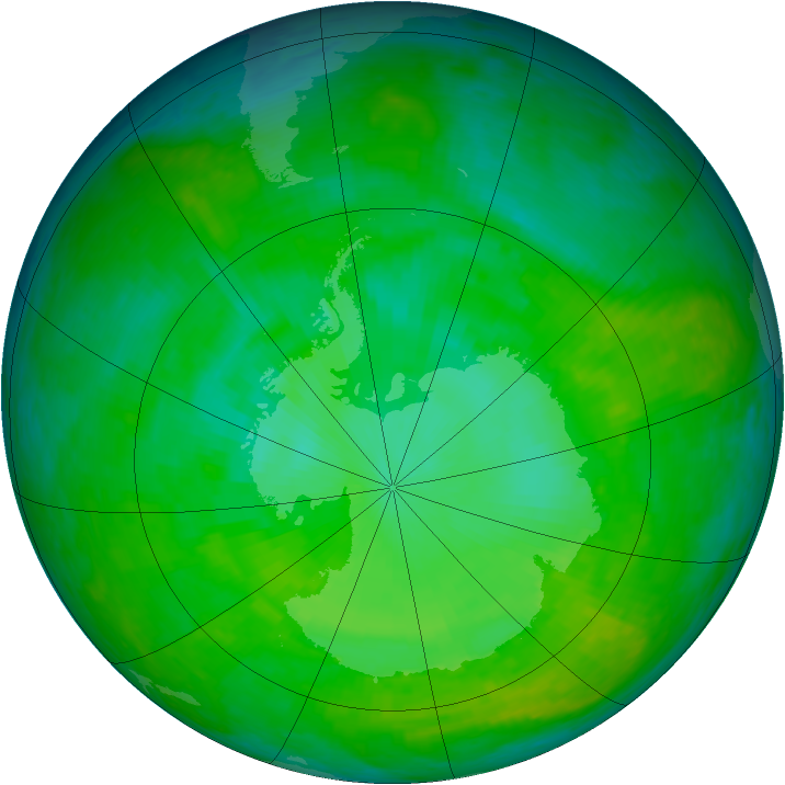 Antarctic ozone map for 17 December 2002