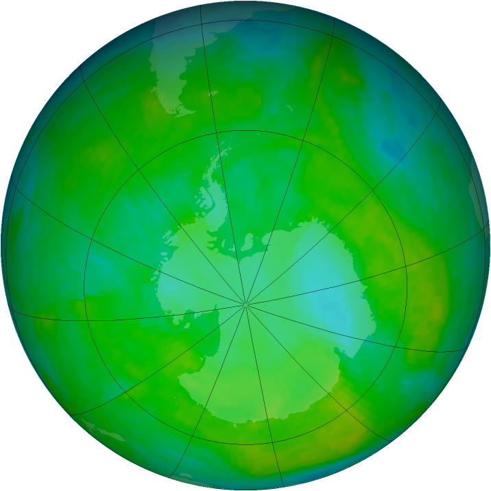 Antarctic ozone map for 19 December 2002