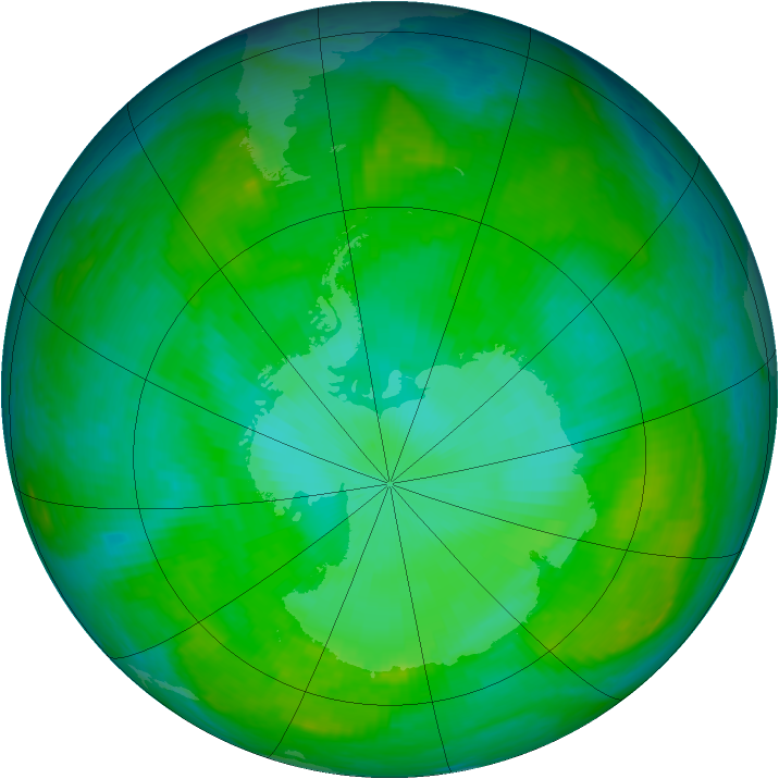 Antarctic ozone map for 23 December 2002