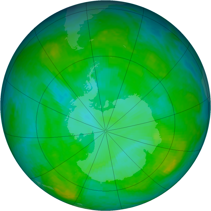 Antarctic ozone map for 25 December 2002