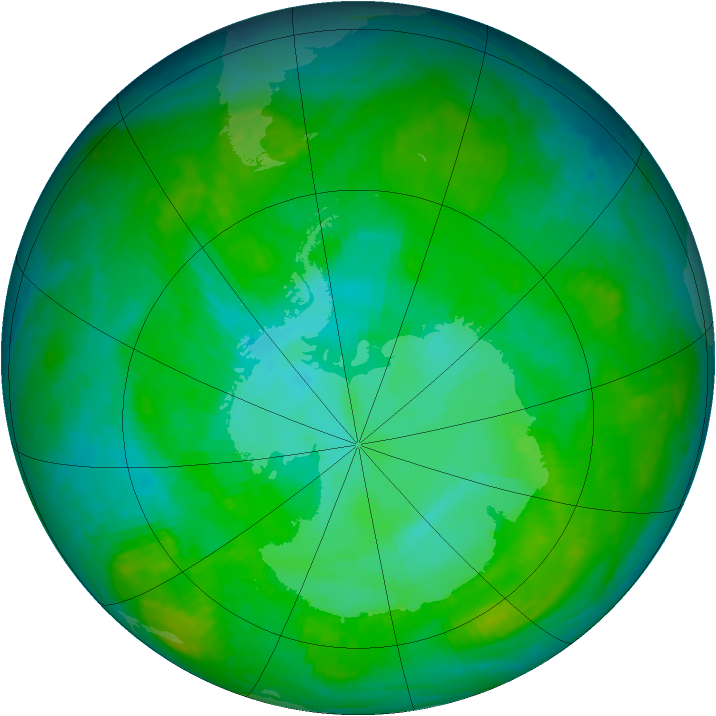 Antarctic ozone map for 26 December 2002
