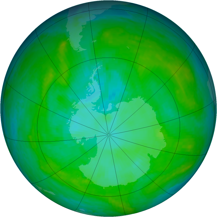 Antarctic ozone map for 29 December 2002