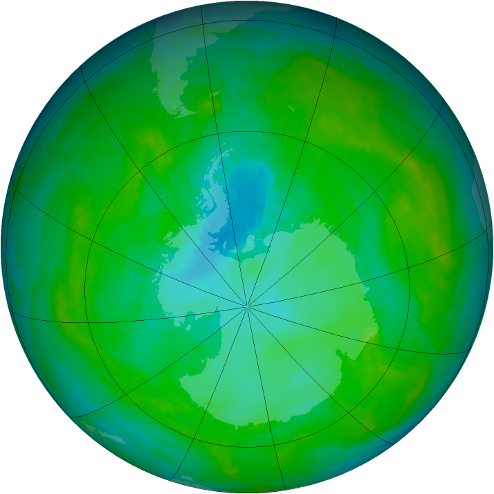 Antarctic ozone map for 30 December 2002