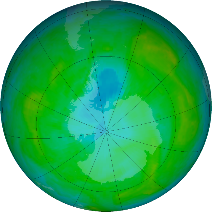Antarctic ozone map for 31 December 2002