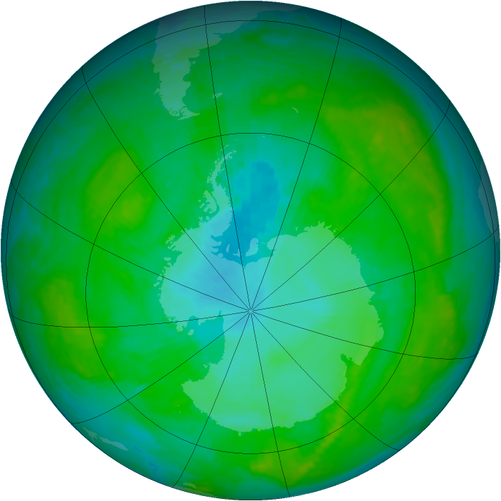 Antarctic ozone map for 01 January 2003