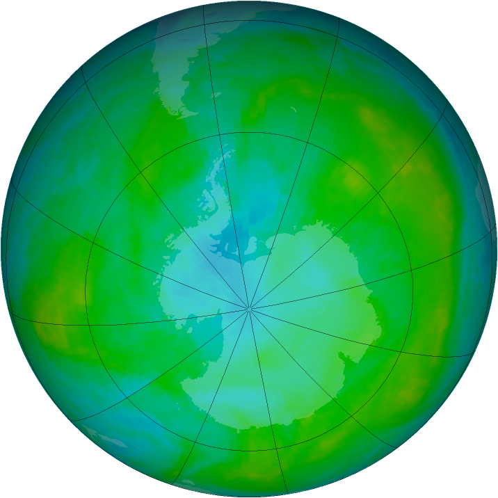 Antarctic ozone map for 02 January 2003