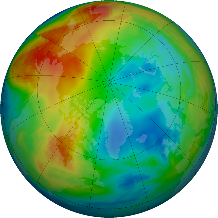 Arctic ozone map for 05 January 2003