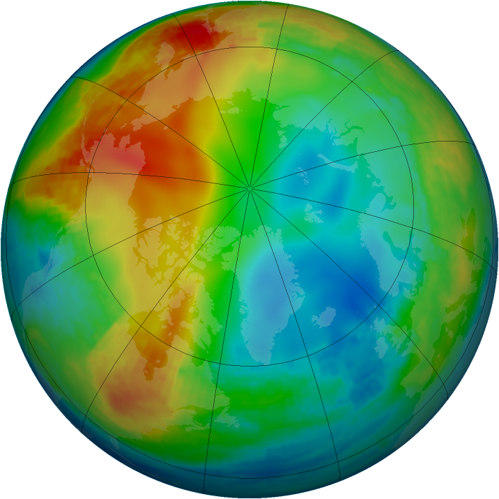 Arctic ozone map for 06 January 2003