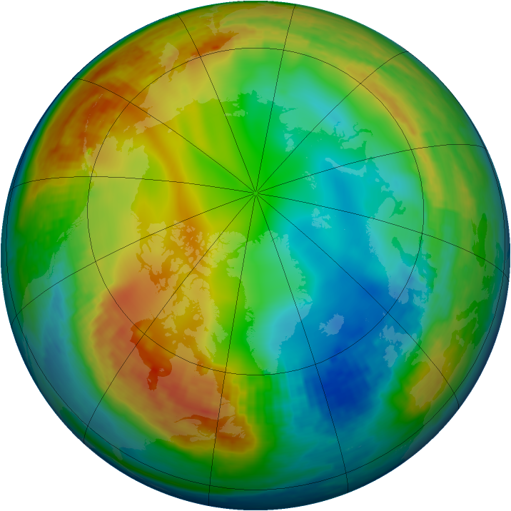 Arctic ozone map for 09 January 2003