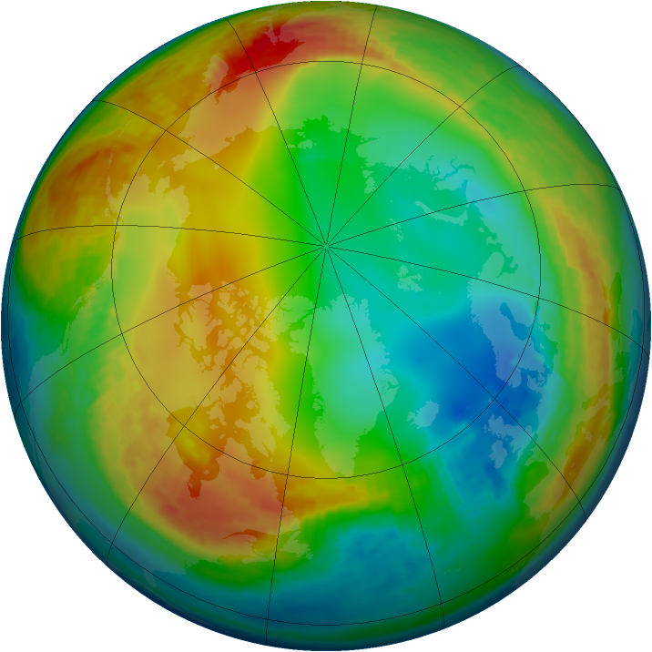 Arctic ozone map for 11 January 2003